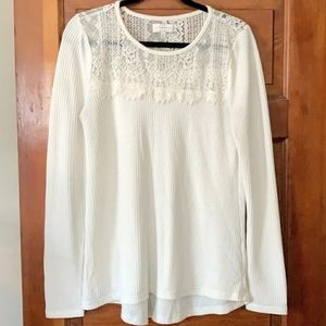 Lucky Brand waffle lace tee